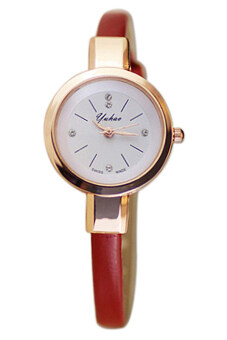 Harga Bluelans(R) Faux Red Leather Strap Watch