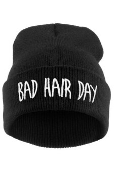 Harga Bluelans(R) Men's Women's Hip-Hop Cap BAD HAIR DAY Knitted AcrylicBeanie Hat (Black)