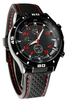 Harga Bluelans(R) Red Number Racer Military Pilot Silicone Sport WristWatch