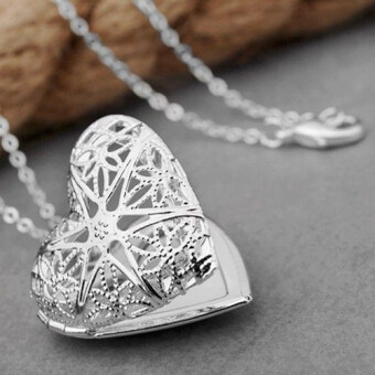 Harga Bluelans(R) Women's Silver Plated Hollow Out Heart Photo LocketNecklace