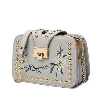 Brand AOYI Fashion Ladies Embroidered Handbags Ladies Small SquaresBag Ladies Famous Brand Designer Shoulder Bag Girl(grey)
