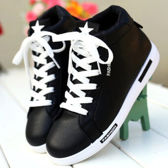 Bright Jiujiu Korean-style white lace autumn BayMini shoes Shoes (Black HTL509)