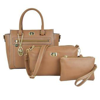 Harga British Polo Elegant 3 in 1 set Handbag (Khaki)
