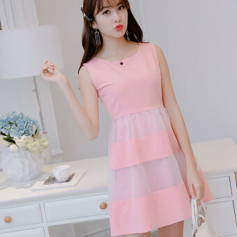 Caidaifei fashion chiffon spring and summer New style dress (Pink) (Pink)