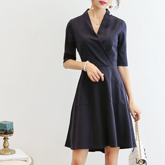Caidaifei fashion slimming versatile bottoming dress Korean-style short sleeved dress (Navy blue) (Navy blue)