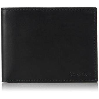 Harga Calvin Klein Mens RFID Blocking Leather Bookfold Wallet With Key Fob, black, One Size