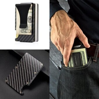 Carbon Fiber Slim Wallet, Front Pocket Wallet & Money Clip Minimalist Wallet RFID Blocking
