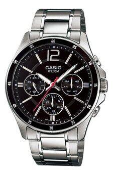 Casio Enticer Analog Stainless Steel Watch (Silver Black) MTP-1374D-1AV