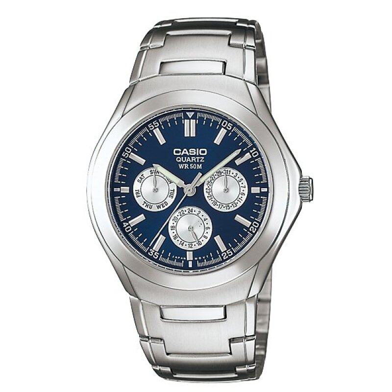 Casio ENTICER MTP-1247D-2AV Men Analog Stainless Steel Watch Silver Blue Malaysia