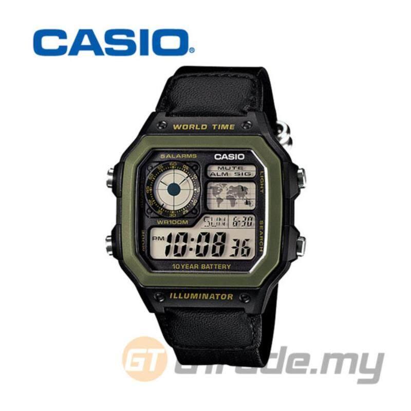 Casio Standard Mens Black Cloth Strap Watch AE-1200WHB-1BV Malaysia