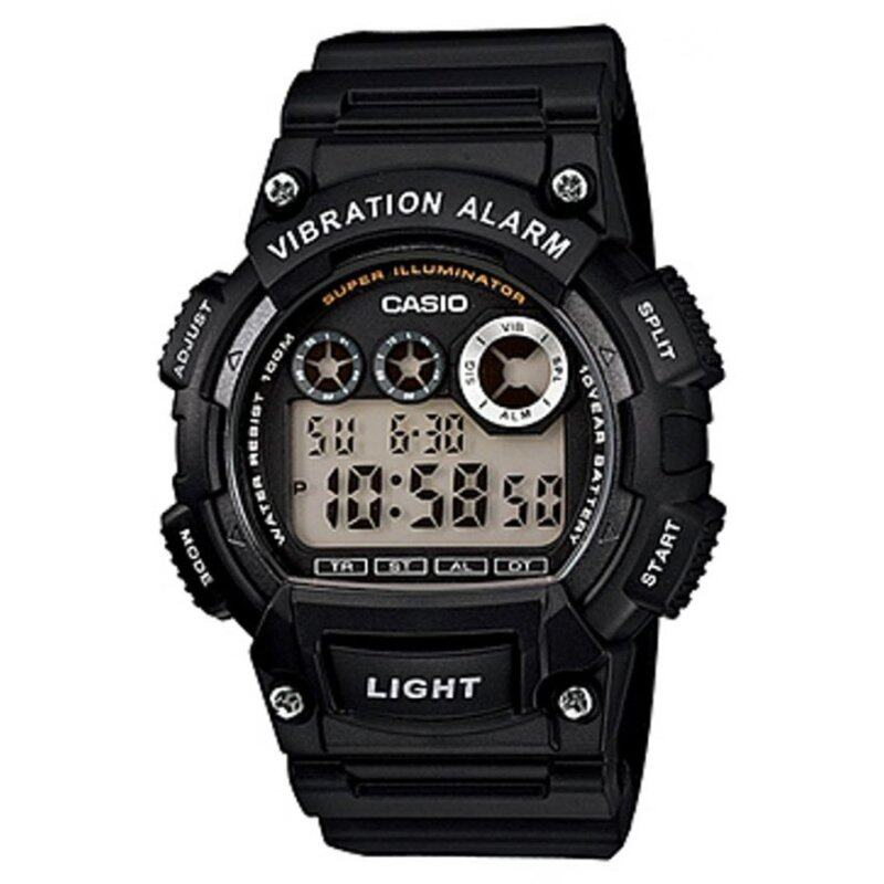 Casio W-735H-1AV 10-Years Battery Timer LED Resin Watch Black Malaysia