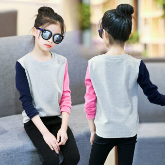 Casual cotton girls long-sleeved shirt bottoming T-shirt