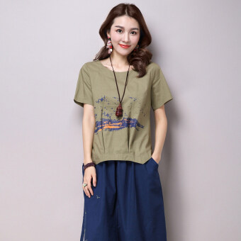 Casual cotton linen printed Plus-sized T-shirt (Dark green color)