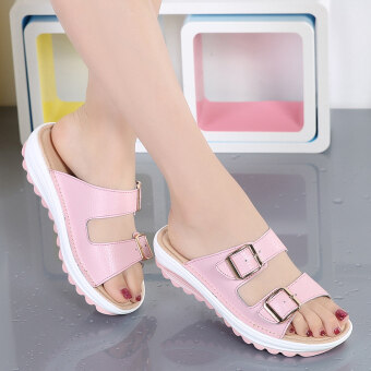 Harga Casual leather Female pregnant women mother shoes sandals shoes (Pink) (Pink)