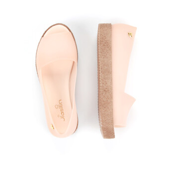 Harga Casual New style jelly Four Seasons shoes fish head flat shoes (Jelly nude) (Jelly nude)