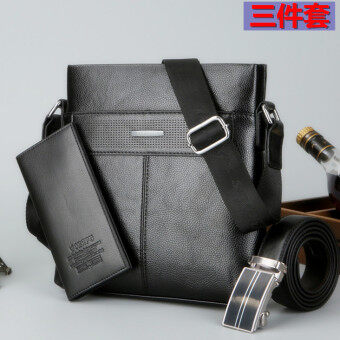 Casual student briefcase cross bag New style men's bag (Black)