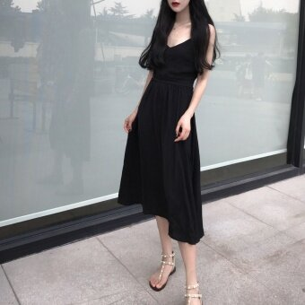 Chic Hong Kong flavor v-neck straps drain back dress long dress