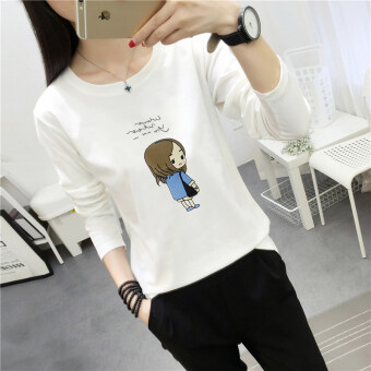 Chic Korean-style Spring and Autumn New style Plus-sized bottoming small shirt (186 * white)