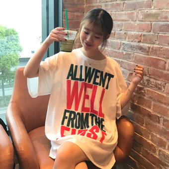 Chic Korean-style summer lettered printed short sleeved dress T-shirt
