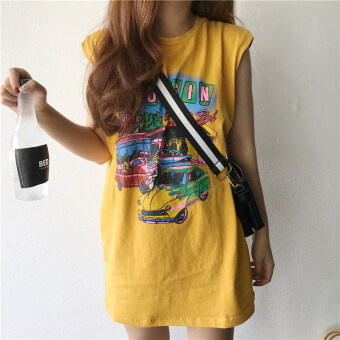 Harga Chic summer long paragraph style Hong Kong flavor retro vest dressT-shirt (Ginger yellow) (Ginger yellow)
