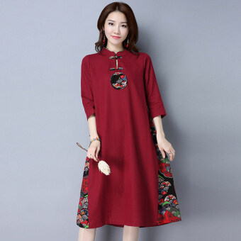 Harga Chinese-style artistic cotton linen Asian dress (Wine red color)