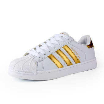 Harga Classic Inspired addidas Superstar Sneakers Canvas Shoes White-Gold