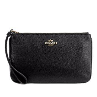 Coach 57465-imblk crossgrain leather large wristlet