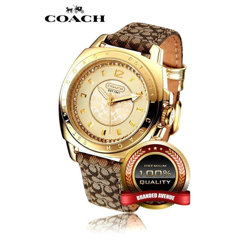 Coach Leather Strap Watch Gold 14501287 Malaysia
