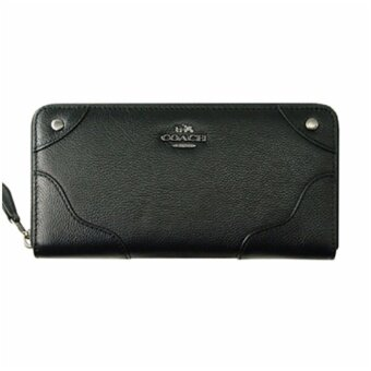 COACH MICKIE ACCORDION ZIP WALLET IN GRAIN LEATHER (F52645) SILVER BLACK