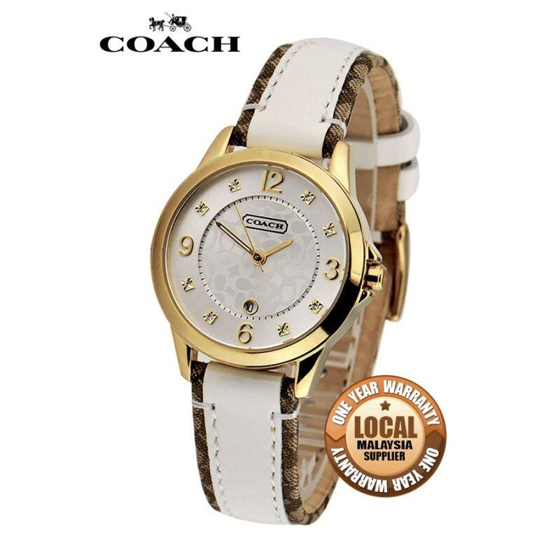 Coach Womens White Leather Strap Watch 14501423 Malaysia