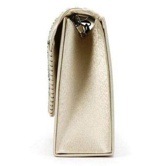 Coconiey Ladies Large Evening Satin Diamante Ladies Clutch Bag Party Envelope Beige Free shipping