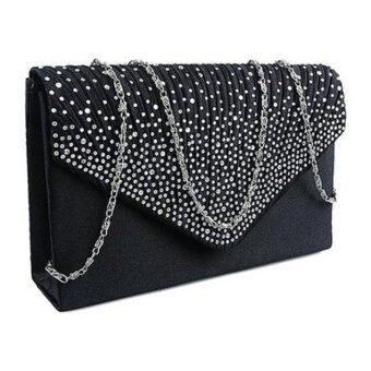 Coconiey Ladies Large Evening Satin Diamante Ladies Clutch Bag Party Envelope Black