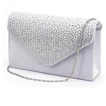 Coconiey Ladies Large Evening Satin Diamante Ladies Clutch Bag Party Envelope Silver Free shipping