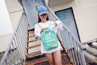College style canvas Japanese and Korean style high school student school bag backpack (Mint Green)