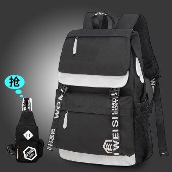College style female high school backpack High School Students school bag (Black with chest pack)