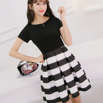 Color Diana 2017 New style Korean-style Slimming effect dress Slim fit Plus-sized short-sleeved fashion striped skirt female spring and summer dress