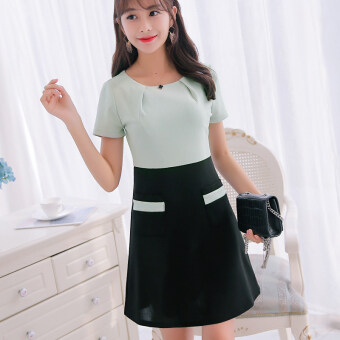 Color Diana 2017 spring and summer New style Women's Plus-sized Korean-style short-sleeved dress fashion Slimming effect wild bottoming skirt female (Green beans)