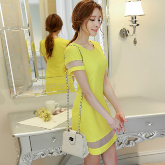 Harga Color Diana New style Slim fit temperament bottoming dress (Brightyellow)