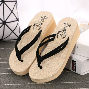 Harga Comfortable Leisure Summer Fashion Wedge Platform Shoes Non-slipFlap Thick Bubble Lady Beach Cool Slippers - Black
