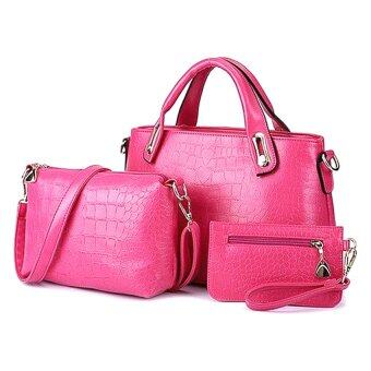 Como Faux Crocodile Leather Bags Set of 3 (Rose Red)