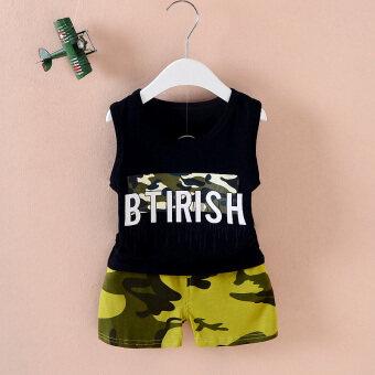 Cotton summer infants children vest suit (Vest letters camouflage black) (Vest letters camouflage black)