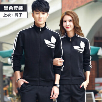 Harga Couple male morning run fitness sportswear two-piece sets hoodie (Black) (Black)