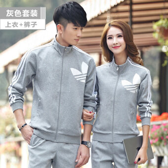 Couple male morning run fitness sportswear two-piece sets hoodie (Gray) (Gray)