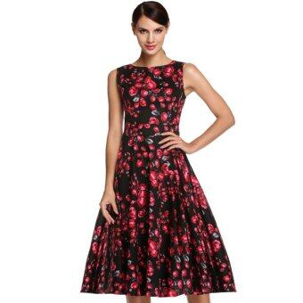 Cyber ACEVOG Stylish Lady Women's Casual Sleeveless Floral PrintedMid-calf Length Party Cocktail Evening Dress
