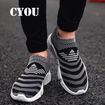 Harga CYOU Men Running Shoes Breathable Flynit Sneaker Lightweight ManSport Shoes Comfortable Outdoor Shoes Kasut Lelaki Fesyen (Grey)