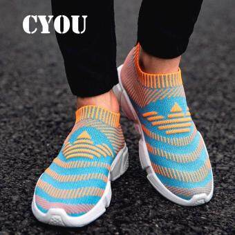 Harga CYOU Men Running Shoes Breathable Flynit Sneaker Lightweight ManSport Shoes Comfortable Outdoor Shoes Kasut Lelaki Fesyen (Orange)