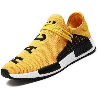 Harga CYOU New 2017 Fashion Men Casual Shoes Lightweight Breathable AirMesh Trainers Flat Casual Human Race Mens Shoes (Yellow)