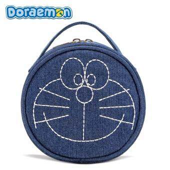 Harga DORAEMON Denim Copper Zipper Storage Bag (Blue)