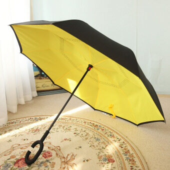 Double Layer-straight reverse umbrella rain or shine umbrella (Kl1218 lemon yellow (no cover)) (Kl1218 lemon yellow (no cover))