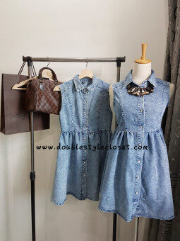 Double Style Closet Front Button Sleeveless Denim Dress - 4